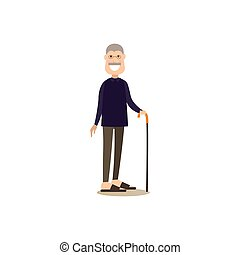 Granddad concept vector illustration in flat style - Vector ...