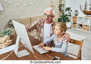 Granddad Helping Kid with Homework