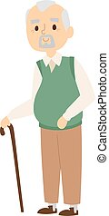 Granddad portrait vector illustration. - Handsome senior man...