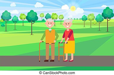 granddad, vector, cartel, ilustración, abuelita