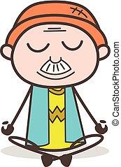 granddad, vector, yoga, caricatura, ilustración