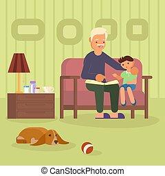 granddad, wektor, ilustracja, wnuk, sofa