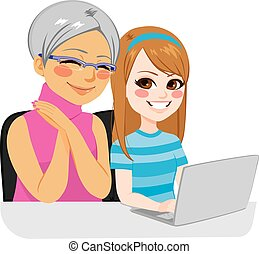 Happy granddaughter helping grandmother using internet with laptop