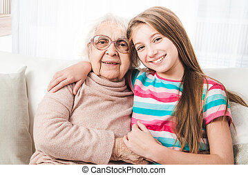 Granddaughter with grandmother