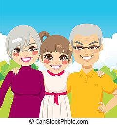 Cute little girl granddaughter with her senior grandparents
