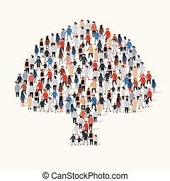 grande, árvore., grupo, forma, pessoas