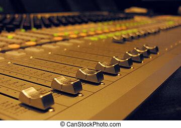grande, áudio, -, misturador