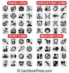 grande, ícones, vetorial, jogo