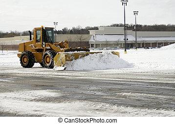 grande, 1, arado, nieve, amarillo