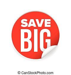 grande, adesivo, salvar, venda