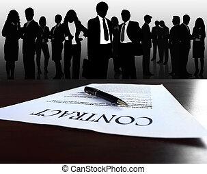 grande, affari, immagine, contratto, squadre, fondo