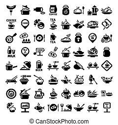 grande, alimento, icono, conjunto