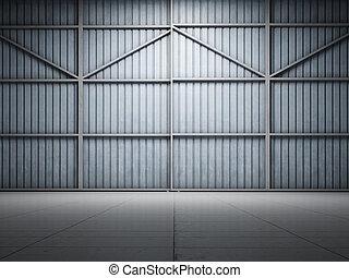 grande, almacén, iluminar, puerta