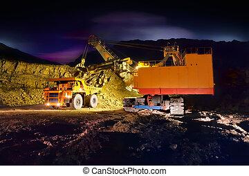 grande, amarela, caminhão mineração