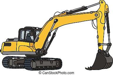 grande, amarela, escavador