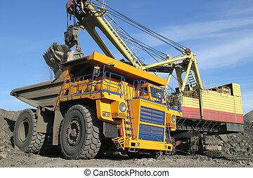 grande, amarillo, camión minero