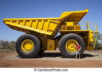 grande, amarillo, transportador