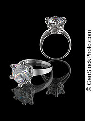 grande, anillo, diamante, aislado, blanco