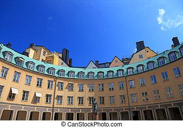 grande, antigas, amarela, arquitetura, em, estocolmo, sweden.