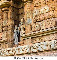 grande, antiguo, (trichy)great., unesco, nadu, pared, gangaikonda, sitio, india, parte, thanjavur, arquitectura, cholapuram, herencia, included, mundo, templo, tamil, templo