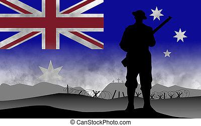 grande, anzac, centenary, guerra, australiano, conmemoración