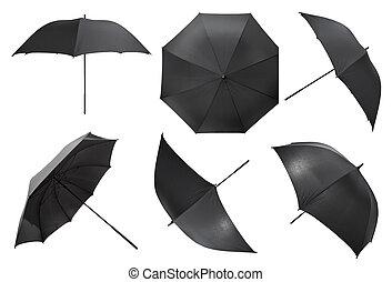 grande, aperto, set, nero, ombrelli