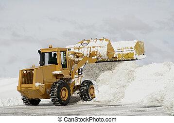 grande, arado, nieve, amarillo, 3