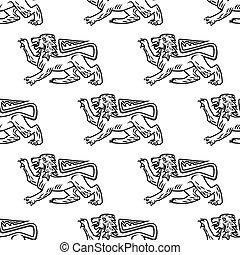 grande, araldico, leone, seamless