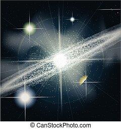 grande, ardendo, lucente, stelle, spazio