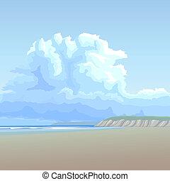 grande, arenoso, coast., nuvem, longo