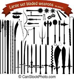 grande, armas, conjunto, bladed