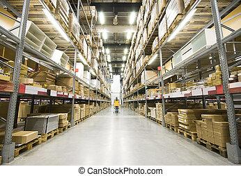 grande, armazém, mobília