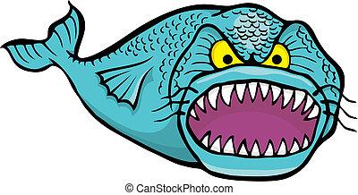 grande, arrabbiato, vettore, fish