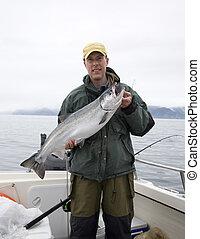 grande, asideros, salmón, pescador, plata, feliz