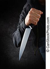 grande, assaltante, faca, afiado