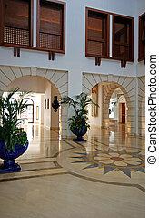 grande, atrio, con, pavimento marmo, in, lusso, albergo, ricorso, castello