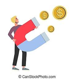 grande, attrazione, uomo, felice, tenere soldi, magnete