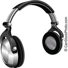grande, auriculares, dj