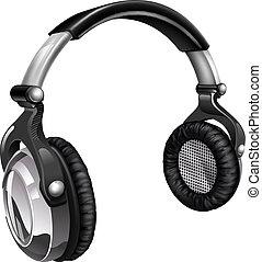 grande, auriculares, música, fresco