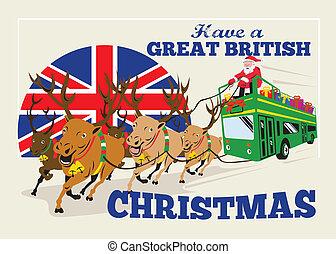 grande, autobús, doube, británico, decker, reno, santa, ...