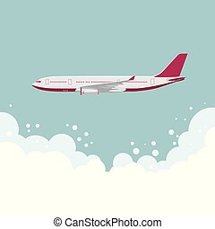 grande, avião passageiro, desenho, mid-air.