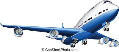 grande, avião passageiro, ilustração