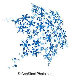 grande, azul, snowflake