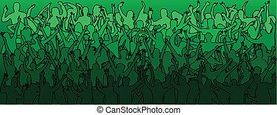 grande, bailando, -green, multitud, gente