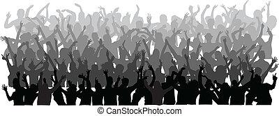 grande, bailando, multitud, gente