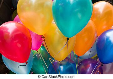 grande, balloon, coloridos, borrão