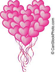 grande, balloon, cuore