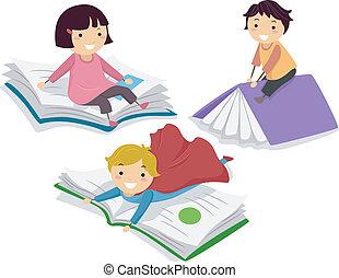 grande, bambini, libri