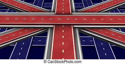 grande, bandeira, inglaterra, rodovia