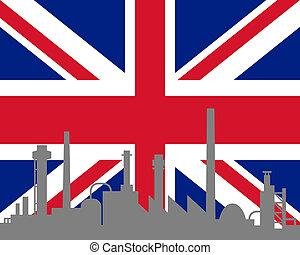 grande, bandiera, industria, gran bretagna